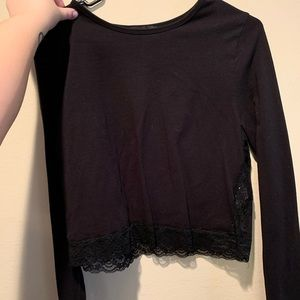 Long Sleeve Lace Crop Plus Size